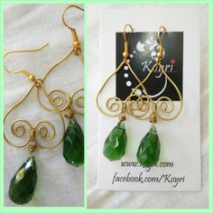 #brass #wire #handmade #earrings #Crystal #bead
