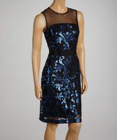 Cobalt Sequin Sheath Dress