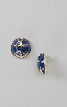 Navy Kacy Stud Earrings