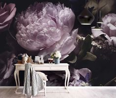 Purple Peonies, Purple And Black, Peony, Black Backgrounds, Wall Murals, New Baby Products, 3d, Wallpaper, Floral