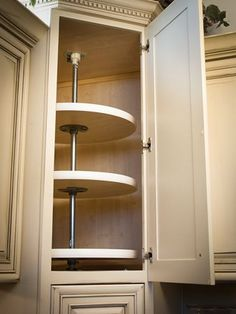 Another lovely idea for that corner cabinet - lazy, susan, corner, kitchen, appliance garage