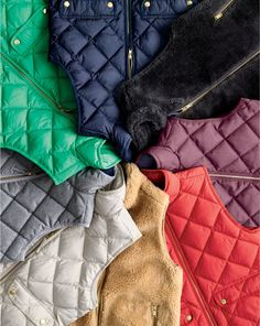 J.Crew women's excursion quilted down vest, excursion quilted vest in flannel and plush fleece excursion vest.