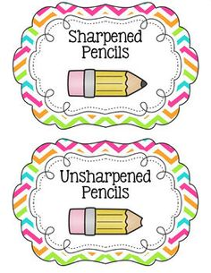 Chevron Pencil Bucket Labels... Another sign I should have a Chevron classroom??