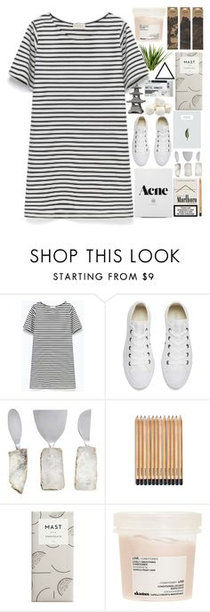 """""""why aren't you at work? - contest entry"""" by california-love-and-life ❤ liked on Polyvore featuring American Vintage, Converse, Davines, Jayson Home, white, simple, dress and Tshirt"""