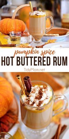 Warm upwith a Pumpkin Spice Hot Buttered Rum! This hot toddy is made with brown sugar pumpkin butter, dark rum, and hot tea. Perfect on a cold winter's night! Print the full recipe at TidyMom.net #cocktails #hotbutteredrum #pumpkin #pumpkinspice #cocktai
