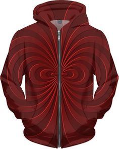 Trippy curves, spirals pattern, red on scarlet, geometric themed all-over-print hoodie design Stylish Outfits, Fashion Outfits, Style Fashion, Hooded Sweatshirts, Hoodies, Spiral Pattern, Funny Outfits, Guys And Girls, Scarlet