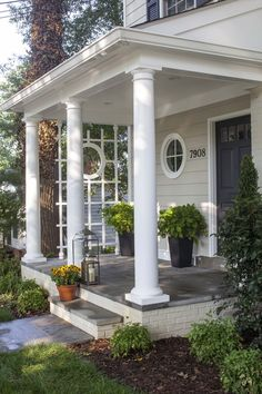 New front porch and facade for Colonial Revival home Front Porch Addition, Front Porch Columns, Front Porch Design, Front Porches, House With Porch, My House, Veranda Design, Dutch Colonial, Home Improvement Projects