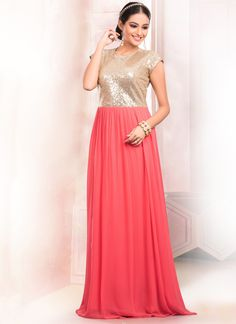 Add a small burst of color inside your wardrobe with this peach faux georgette floor length gown. This attire is beautifully adorned with beads, sequins and zari work. (Slight variation in color, fabr...