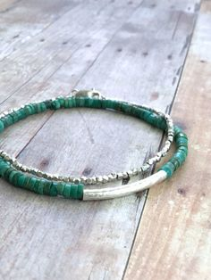 Real Turquoise Bracelet, Blue Green Gemstone Jewelry, Sterling Silver Tube Bead Bracelet
