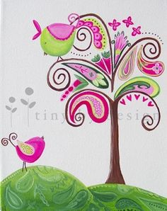 colorful little birds in a paisley tree. fine art prints availabel.  www.tinybydesign.com   #art_prints, #paisley_paintings