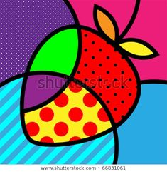 Pop art inspiration for class Romero britto palette strawberry basic simple wasy Pintura Graffiti, Graffiti Painting, Illustration Pop Art, Arte Elemental, Pop Art For Kids, Tableau Pop Art, Fruit Vector, Inspiration Art, Art Plastique