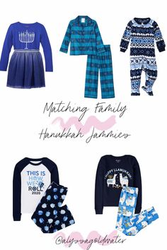 Hanukkah Family Matching Pajamas and Outfits 2020 - A comprehensive post of where you can get the cutest, family matching pajamas and outfits for Chanukah. See it all at aglassofgoldwater.com.