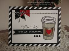 Oh my gosh - corrugated kraft paper makes the PERFECT sleeve for a hot coffee on this handmade thank you card. Use the Perfect Blend stamp set along with black, red and white colors.
