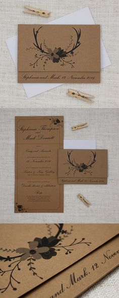 This kraft wedding stationery features a set of deer antlers and a fun bunch of florals. The kraft cards gives a rustic, natural and woodsy feel, while the text choices retain a sense of formality and tradition. http://bemyguest.co.nz/archives/item/deer-antlers-flowers-concertina-wedding-invitation/