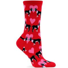These adorable Puppy Love socks are great Valentine's Day gift! Who can resist puppies and hearts!? / Nylon, Cotton, Spandex Blend (1-2% Rubber) Available in Adult Size Medium 9-11 (Fits ladies shoe