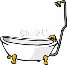 Classic Claw-Foot Tub With A Shower - Royalty Free Clipart Picture