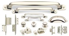 Artisan Series in Polished Nickel Finish. The solid brass Cliffside Industries Artisan Decorative Cabinet Hardware Suite is characterized by the popular exposed screw design that adorns many of the pieces in the collection. This suite coordinates especially well with the surface-mounted cabinet latches, a nod to the faux screw on the pulls.
