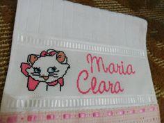 Sara Artesanatos: toalha bordada em ponto cruz gatinha marie