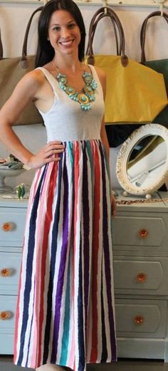 to make with a tank top and material =Pink Combo Maxi Dress