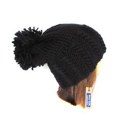 Slouchy beanie hat black slouch hat chunky knit by Johannahats  #Fashion
