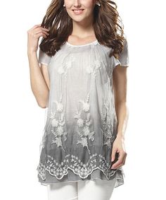 Look what I found on #zulily! Gray Floral Lace Tunic - Women by Simply Couture #zulilyfinds
