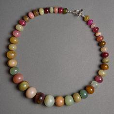 Serpentine, Garnet, Sterling Silver #beads #necklace #gemstone