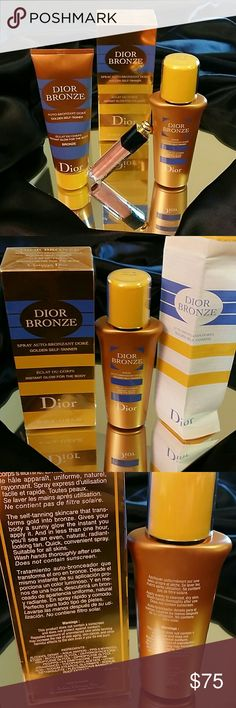 **DIOR SUMMER BRONZE BONANZA*DIOR SPRAY*LOTION*LIP ***DIOR* *BRONZE*** ** BE GOLDEN DAY AND NIGHT**  **RECREATES THE RADIANCE OF A NATURAL TAN** **THE SECOND YOU PUT IT ON YOUR SKIN IT LOOKS LOVE A WAVE OF GOLDEN SHIMMER** **BORN OF GOLD** **IMMEDIATE RESULTS** **BIO-STIMULATING AGENT OF MELANIN ENCOURAGES NATURAL TANNING PROCESS TO LAST** **ANTI-OXIDIZING INGREDIENTS ENHANCE & CARE FOR YOUR SKIN** **TREAT YOURSELF TO DIOR GOLD** ***(FREE DIOR ADDICT LIPGLOSS $30.00 VALUE WITH EACH PURCHASE…