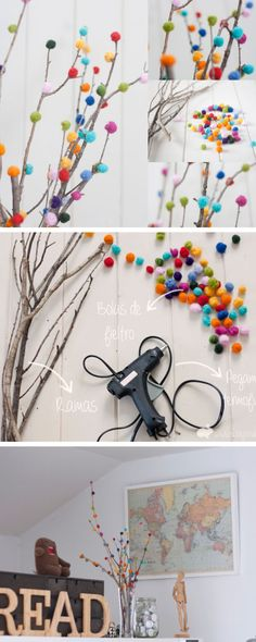 DIY Pom-Pom Tree | Click Pic for 22 DIY Mothers Day Craft Ideas for Kids to Make | DIY Mothers Day Crafts for Preschoolers to Make