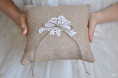Burlap ring pillow Love birds Burlap Ring by NatalysWeddingArt, $14.00
