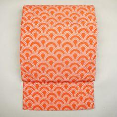 Pink orange, kyo fukuro obi / 青海波を施した、締めては名古屋帯寸法の京袋帯 http://www.rakuten.co.jp/aiyama #Kimono #Japan #aiyamamotoya