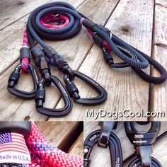 Carabiner Dog Leashes built with mountain climbing rope. http://mydogscool.com/store/carabiner-dog-leashes/