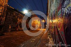Evening view of street art buildings located in art alley, Rapid City, South Dakota