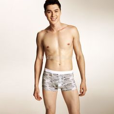 $12.75  Retro Floral Men Soft Boxer Briefs WHITE