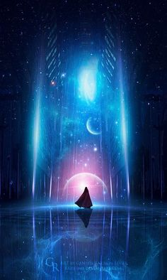 Cosmic Energy by GeneRazART on DeviantArt (Beauty World Scenery) Fantasy Places, Fantasy World, Fantasy Artwork, Anime Kunst, Anime Art, Fantasy Kunst, Fantasy Inspiration, Fantasy Landscape, Landscape Pics