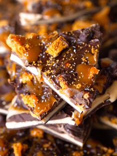 Cookie Butter & Salted Caramel Chocolate Cookie Candy Bark Recipe ~ 3 layers of Chocolate and Cookie Butter topped with luscious Salted Caramel Sauce and Chunks of Biscoff Cookies