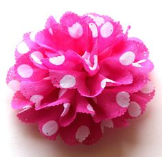 Your place to buy and sell all things handmade Fabric Flower Brooch, Fabric Flowers, Polka Dot Fabric, Polka Dots, Pink White, Hot Pink, Balloon Weights, Christening, Creative Ideas