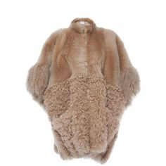 Agnona Fur Block  Zip Poncho (£6,405) ❤ liked on Polyvore featuring outerwear, agnona, neutral, color block poncho, brown poncho, style poncho and fur poncho