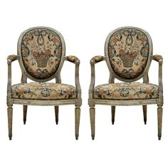 Pair of French Louis XVI Painted Fauteuiles | From a unique collection of antique and modern armchairs at http://www.1stdibs.com/furniture/seating/armchairs/