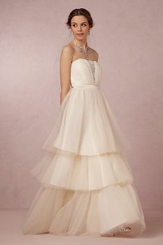 BHLDN | Faye Gown | Wedding Dress | Strapless | 3 Tiered Skirt | Tulle Ballgown