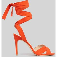 New Look Orange Suedette Tie Up Heeled Sandals ($32) ❤ liked on Polyvore featuring shoes, sandals, bright orange, orange sandals, heeled sandals, bright shoes, heels stilettos and tie shoes
