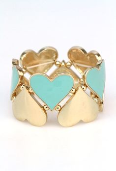 Hugs and Kisses Heart Cutout Stretch Bracelet In Mint