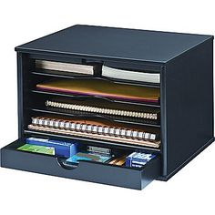 Victor Wood Midnight Black Collection, Desktop Organizer, Black, Attractive midnight black smooth matte finish Four full shelves for files Sliding door on top pulls out to cover file shelves Large, felt lined drawer for pens and desk supplies 14 x x Desk Organization Ikea, Office Supply Organization, Organization Ideas, Classroom Organization, Black Desktop, Cool Desktop, Desk Supplies, Office Supplies, School Supplies