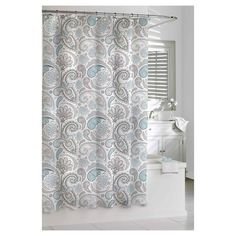 Chic and sophisticated, this Kassatex Paisley Shower Curtain - Blue/Grey instantly transforms your bathroom into a stylish sanctuary. Made of 100% cotton, this gray and blue curtain, which is printed with sweeping paisley designs, keeps water off your bathroom floor in a totally attractive way. This shower curtain coordinates easily with bathroom rugs, towels and accessories in a variety of complementary colors and prints, so you can create a variety of looks. The button-hole top on t...