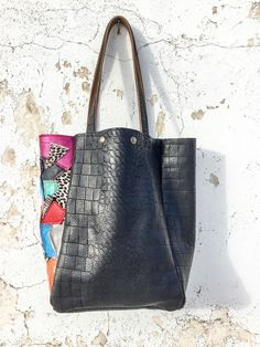 Excited to share the latest addition to my #etsy shop: Large Black Leather Tote Bag/Black Crocodile Embossed Leather Bag/Multicolor Leather Carry-All Tote Bag/Patchwork Leather Tote – ORMarinaEL9