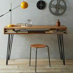 Escrivaninha de ferro e madeira rústico | Cliquee Busque | Elo7