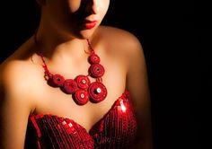#RedNecklace, #beadwork, #BeadedNecklace