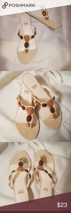 🌻 ISOLA Jeweled Cream Slides Sandals Thongs Really nice condition. Rubber grip soles. Cruise wear. Finish the summer off in style! Nordstrom. Isola Shoes Sandals