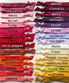 Items similar to Head Bands Pick 1 Color - Stretch Elastic Ribbon - 60 Yummy Choices on Etsy Colour Pallette, Colour Schemes, Color Combos, Color Patterns, Elastic Ribbon, Elastic Headbands, Pantone, Color Mixing Chart, Fashion Vocabulary
