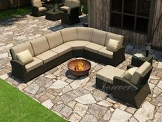 Forever Patio Barbados 6 Seat Sectional Set
