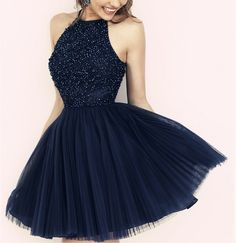 Tulle Homecoming Dress,Short Homecoming Dress,Beading Prom Dress,Short Prom Dress,Navy Blue Prom Gowns,Sleeveless dress
